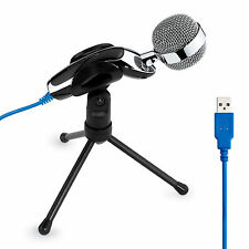 Audio Professional Condenser USB Microphone + Stand for PC Computer Chat Skype