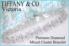 TIFFANY & CO VICTORIA PLATINUM DIAMOND MIXED CLUSTER BRACELET ~ 6.25tcw DIAMONDS