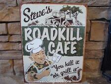Steve's Roadkill Cafe 12 x 16 Vintage Style Metal Tin Sign Hunting Fishing Grill