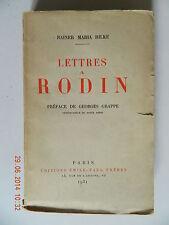 Rainer Rilke lettres à rodin éditions Emile Paul Frères dédicace de Grappe 1931