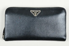 Prada Black Leather Zip Continental Wallet