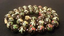 Vintage Chinese Floral Black-Green-Red Enameled Cloisonne Bead Clasp Necklace