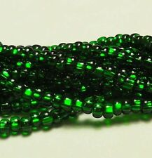 Green Silver Lined Czech 6/0 Seed Bead on Loose Strung 6 String Hank