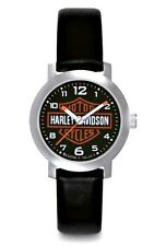 Harley-Davidson® Bulova Womens Bar & Shield Stainless Steel Leather Watch 76L10