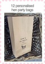 12 Personalised Vintage Brown Hen Party Gift Bag Kraft Block Bottom Paper Bags