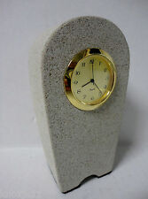 "NEW Vtg Solid Stone ROCK MANTLE CLOCK Shelf Desk Office Table 4.5"" Sandstone NWT"