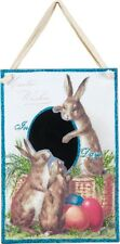 NEW~VINTAGE WOOD CHALK BOARD COUNTDOWN TO EASTER WISHES~Bunny/Rabbit/Eggs/Basket
