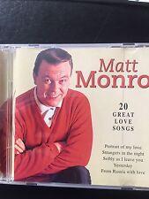 Matt Monro 20 Great Love Songs Barely Used Easy Listening Pop Cd 60s 70s
