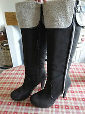 M&S  Brown Suede Leather Knee High Boots Size 7