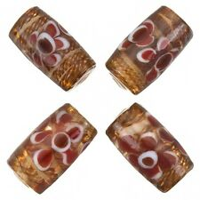 Fused Flower Transparent Brown Tube Glass Beads 20x10mm Pack of 4 (A80/5)