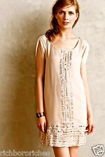 NEW $198 Anthropologie RARE nude tan shimmery silver Mirror Trim Tunic Dress PXS
