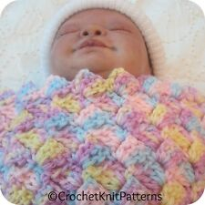 TWO BABY BLANKETS CROCHET PATTERNS. 3-size patterns Herringbone and Mini Scallop