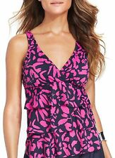 Inc International Concepts Black Pink Printed Tiered Swimsuit Tankini Top Sz 12