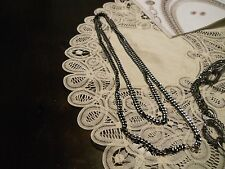 26 INCH LONG BLACK HERMATITE PLATE NECKLACE