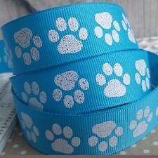 22mm Glitter Paw Print Blue Grosgrain Ribbon. Dog bow, Gift wrap, Craft, Art.
