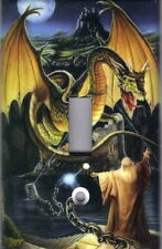 MAGICAL WIZARD AND DRAGON HOME WALL DECOR SINGLE LIGHT SWITCH PLATE COVER