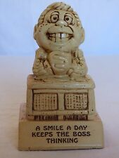 'A Smile A Day Keeps The Boss Thinking' 1973 Paula Figurine *Great Gag Gift*