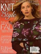 Knit n Style August 2006 Fall Sweaters Felted Hats Twin Sets Knitting Patterns
