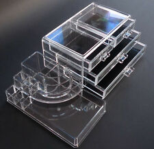 4 DRAWERS CLEAR ACRYLIC COSMETIC MAKEUP ORGANISER DISPLAY HOLD BOX CASE STORAGE