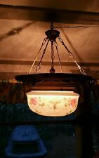 Vintage Brass Victorian Style Hanging Ceiling Light Frosted Glass with Roses
