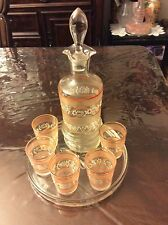 VINTAGE LIBBET DECANTER AND SHOT GLASS SET WITH TRAY