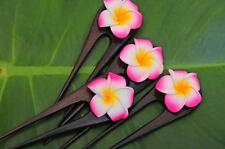 Handmade wooden HAIR PIN FORK PICK Frangipani Plumeria FLOWER new PINK petals