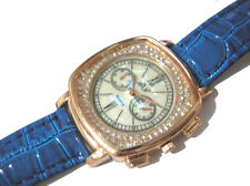 Bling Bling Blue Leather Band Ladies Watch Item 4383