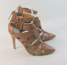 """TAN 4"""" high heel pointy toe ankle strap sexy shoes Size 7.5"""
