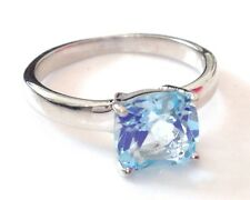 blue topaz cushion-cut solitaire ring, Solid Sterling Silver uk size Q, new,