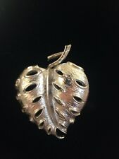 "SILVER TONED STRAWBERRY LEAF BROOCH  2"" LONG"