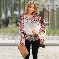Plus Size Floral Printing Women Lady Loose Tops Spring Summer Chiffon Blouse Hot