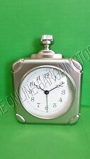 Pottery Barn Vintage Square Pocket Watch Shape Desk Table Office Clock Pewter