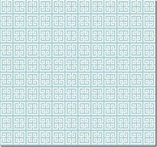 Williamsburg Geometric Soft White Greek Key on Lt. Turquoise Wallpaper WL8697