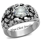 MEN'S SILVER TONE STAINLESS STEEL 3 CARAT OVAL AAA CZ NUGGET RING - SIZE 8 -13