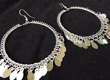 BohoCoho Quirky Boho Gypsy Bellydancer style silver plated large hoop earrings