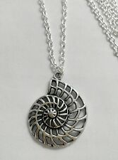 "Sea Shell Fossil (29x35mm) Tibetan Silver Charm Pendant, Long 30"" Chain Necklace"