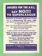 #D132. 1995  RUGBY LEAGUE PAMPHLET - SAY NO TO SUPERLEAGUE