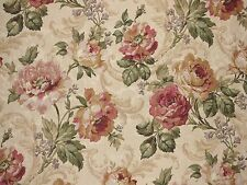 Mill Creek Floral ROSEWOOD Green Beige Drapery Cotton Jacquard Sewing Fabric