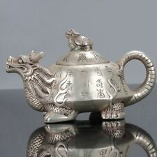 Old Chinese Tibet Silver Handwork Longevity Motif Turtle Shaped Teapot C542