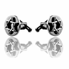 Stainless Steel Cufflinks With Raised Star Of David Sold by Pairs