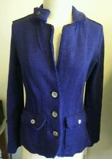 Women's Eileen Fisher Merino Wool Purple Front Pockets Warm Coat Blazer Jacket S