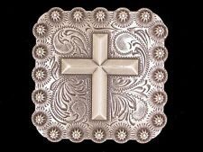 "Western Equestrian Decor Antique Silver Cross 1"" Square Concho"