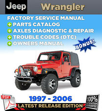 Jeep Wrangler TJ 1997 - 2006 2005 2004 2003 Service Repair Manual +Parts Catalog