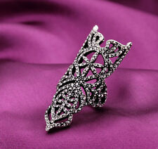 Gothic Punk Antique Silver Alloy Armor Crystal Hollow Out Statement Finger Ring