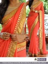 BOLLYWOOD  DESIGNER PARTY WEAR LIGHT ORANGE  GEORGETTE FABRIC   SAREE