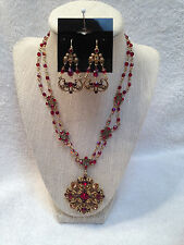 EUC Vintage Avon Gold Tone W/ Red Rhinestones Game Of Thrones Necklace Set