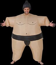 Funny SUMO WRESTLER INFLATABLE BODY INSTANT COSTUME w-Airblown Fan-Unisex Adult