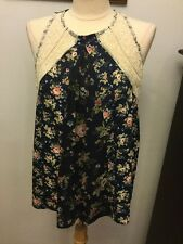Hint of Mint Top Size Large New Multi Color Floral with Lace Accents