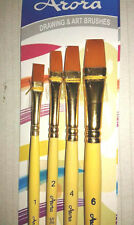 arora  Artist Quality flat synthetic Hair Paint Brush Set, 4 Piece Set