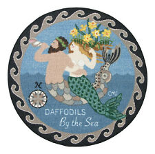 """Round Rugs Area Kitchen Rugs Floor Mats Rubber Back Claire Murray 30"""" Mermaid"""
